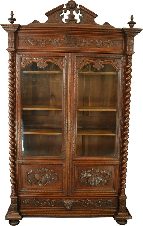 Antique Carved Oak French Renaissance Bookcase Display Antique Cabinets With Glass Doors