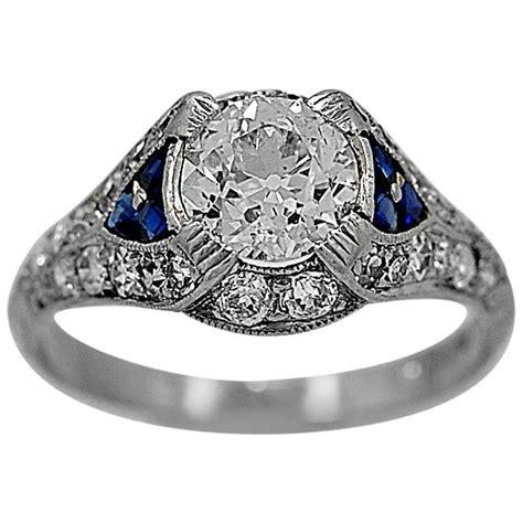 deco 85 carat sapphire platinum engagement