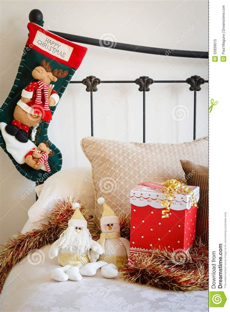 christmas stocking  bed royalty  stock photo image