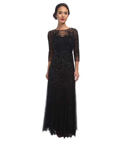 black beaded gown papell sleeve beaded gown in black lyst