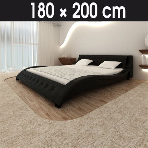 pvc bed frame new design bed frame 180x200cm black pu leather platform