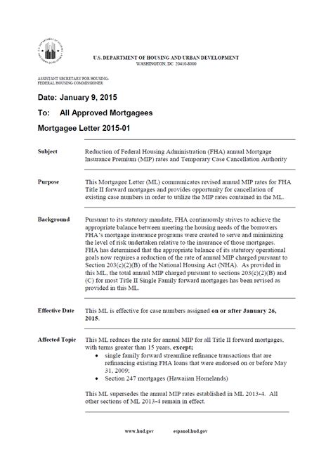 Fha Mortgagee Letter Appraisal Portability Hud Mortgage Letter 2015 01 Home Loans By