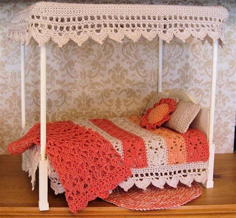 Handmade Canopy Bed - handmade bed with crochet bedding and rug pillows canopy