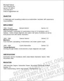 mechanic resume template auto mechanic resume templates image search results