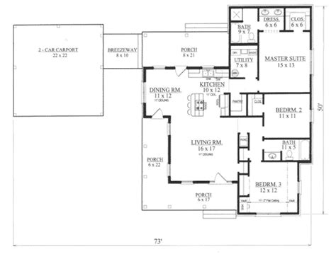 house plan with breezeway foxbridge ranch home plan 069d 0115 house plans and more