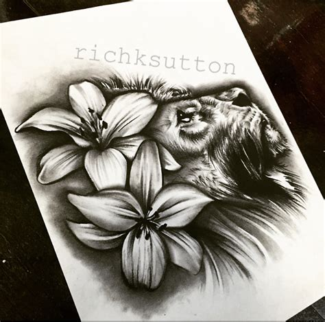 lion flower tattoo and lilly flowers design original