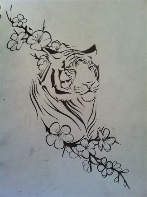 tiger and flower tattoo designs tiger by aluc23 on deviantart