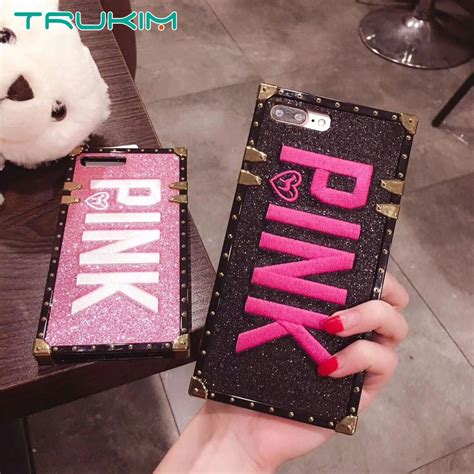 buy luxury embroidery  pink letter case