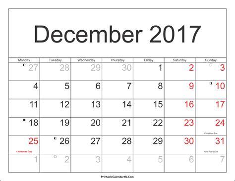 Calendar 2017 December Pdf December 2017 Calendar Pdf Weekly Calendar Template