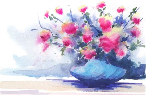 Watercolor Flowers In Vase by The Of Andy Fling Watercolor Flowers In Vase