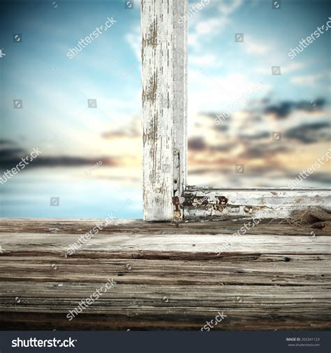 Window Sill Stock Retro Window And Wooden Sill Stock Photo 203341123