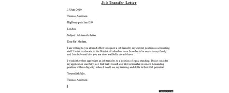 Letter For Work Transfer Transfer Letter Sle Business Letter Exles