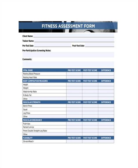 pre exercise screening form template doc 419495 fitness assessment form printable fitness
