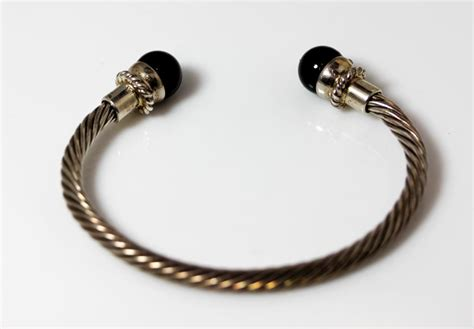 silver beaded cuff bracelet sterling silver onyx bead twisted cuff bracelet 7 6984