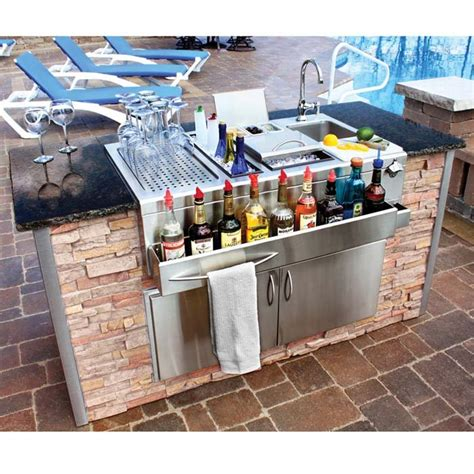 built in cocktail station and sink for wet bar with