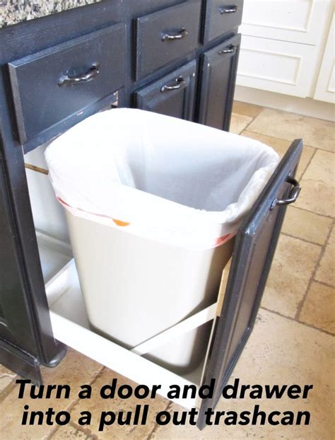 kitchen sink pull out drawer turn a door and a drawer into a pull out trash can