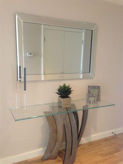 Hallway Table With Mirror Simple Understated Mirror Featured Above Sculptured Console Table And Ultra