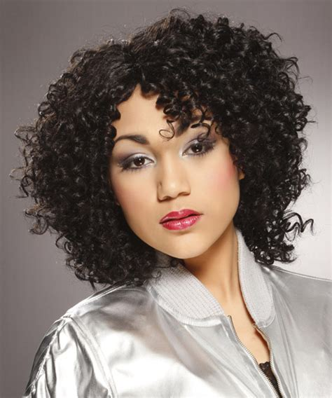 curly hairstyles casual medium curly casual hairstyle black