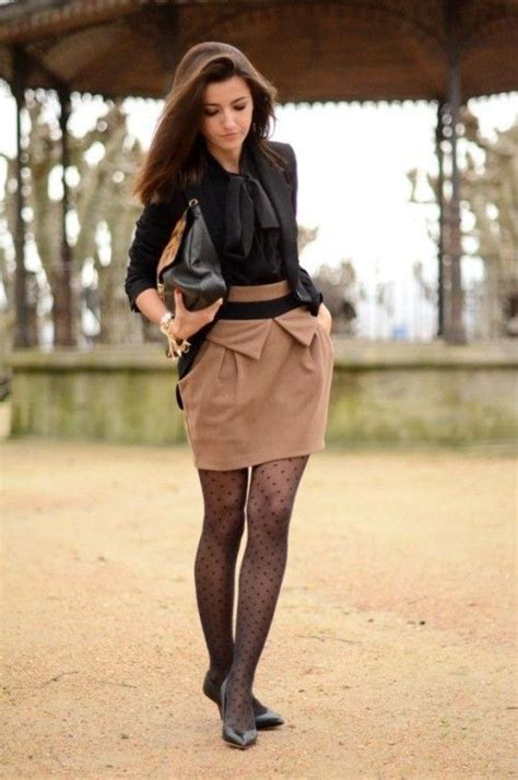 patterned tights to work the tights make it wear it with flats otherwise the hem