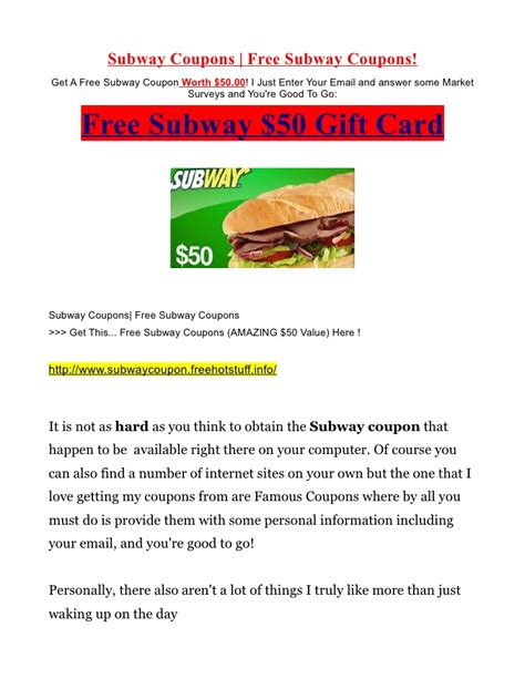 Free Subway Gift Card Codes - free subway coupons and gift card up for grabs