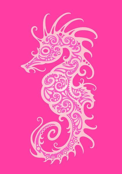 intricate pink tribal seahorse design art print by jeff