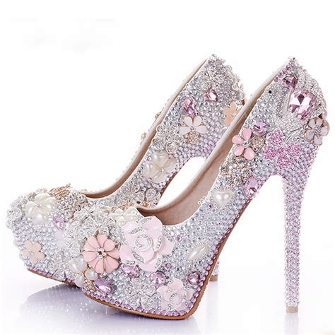 wedding flower shoes rhinestone flower pink wedding shoes stiletto heel 14cm