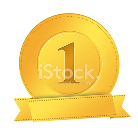 number one gold medal with gold ribbon stock photos