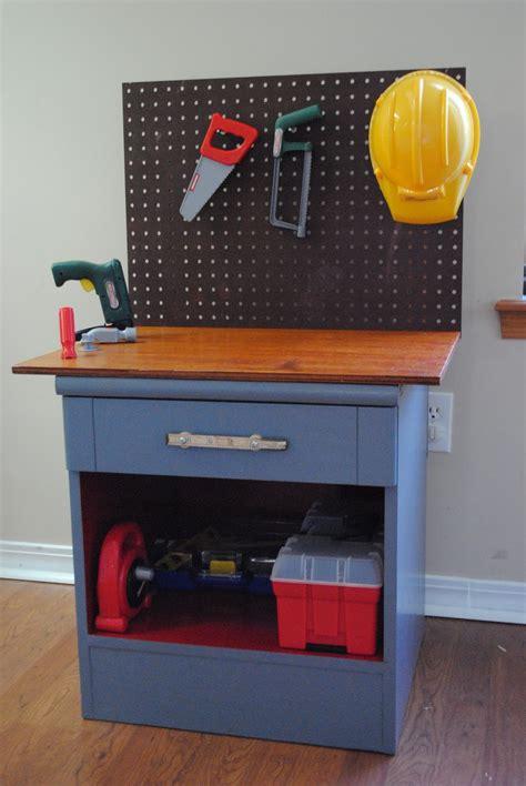 kid work bench nightstand repurposed it s now a kids workbench design