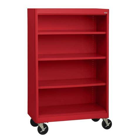 Sandusky Radius Edge Red Mobile Steel Bookcase Bm3r361852 Movable Bookshelves