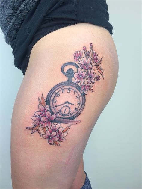 pocketwatch cherry blossoms pink sakura leg tattoo quality