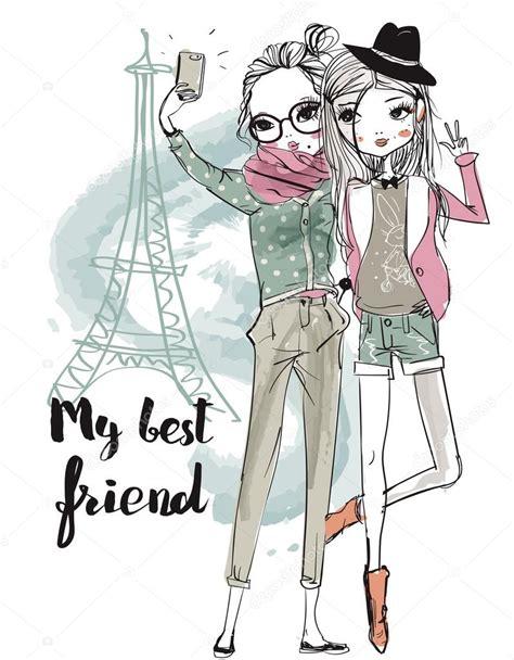 imagenes animadas mujer chicas de dibujos animados linda de moda archivo