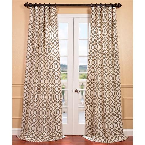 Brown And Ivory Curtains Filigree Pearl Flocked Faux Silk Brown And Ivory Curtain Panel