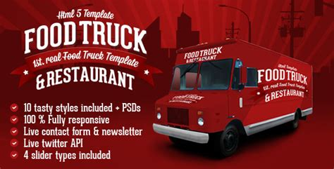 Food Truck Restaurant 10 Styles Html5 Template By Createit Pl Themeforest Food Truck Powerpoint Templates