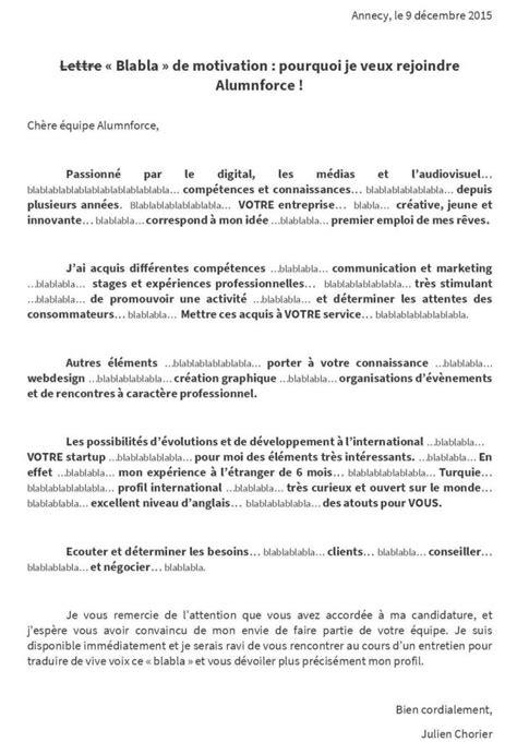 Exemple Lettre De Blâme La Lettre 171 Bla Bla 187 De Motivation Tr 232 S Second Degr 233 De Julien Lui Offre Un Cv