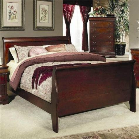 Cherry Wood Sleigh Bed Cherry Wood Finish Size Sleigh Bed Beds New Ebay