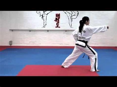 youtube taekwondo pattern 1 white belt basic techniques saju makgi and saju jirugi