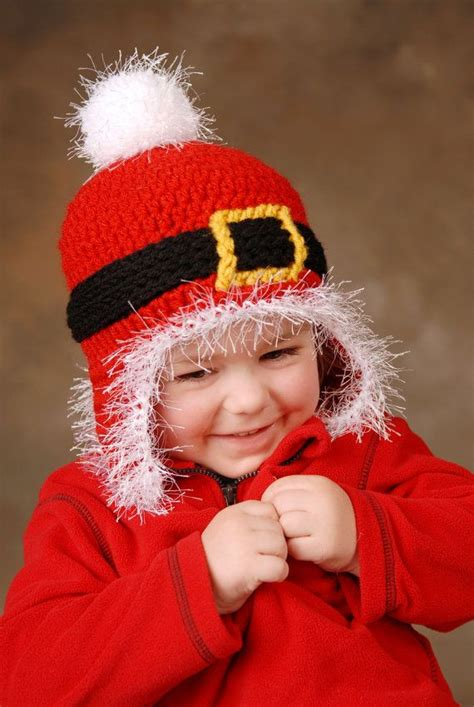 santa beanie with earflaps kids crochet hat