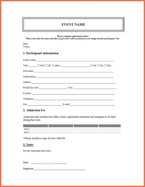 printable registration form template bio exle
