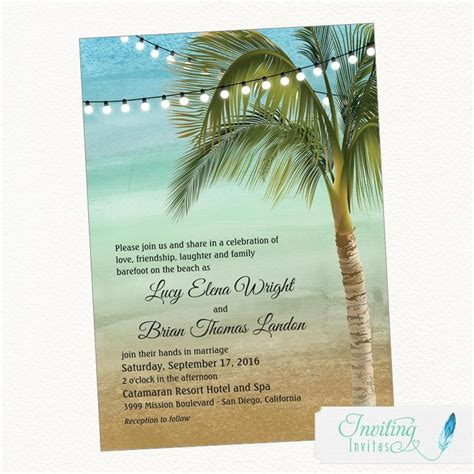 printable wedding invitations beach beach wedding invitation tropical wedding invitation palm