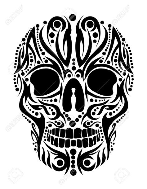 skull with tribal tattoo designs black tribal skull design