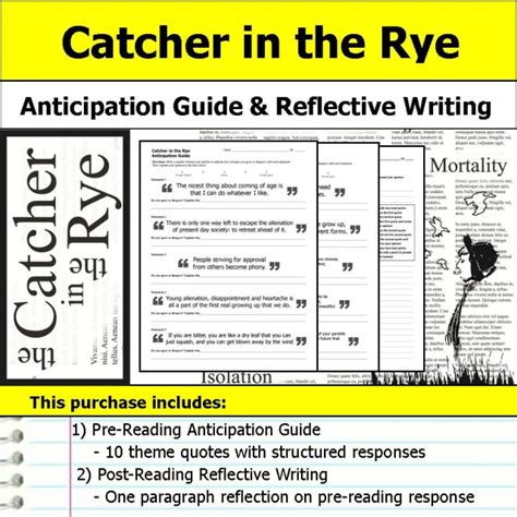 theme quotes catcher in the rye catcher in the rye anticipation guide reflection