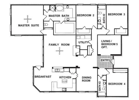 4 bedroom floor plans one story floor plans for one story country homes one story house plans