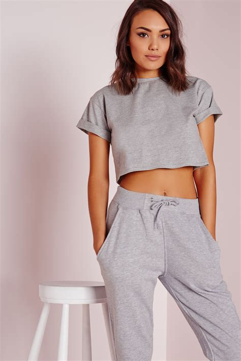 cotton crop top missguided roll sleeve cotton crop top grey in gray lyst