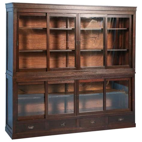 Antique Japanese Bookcase Or Cabinet With Sliding Glass Antique Cabinets With Glass Doors