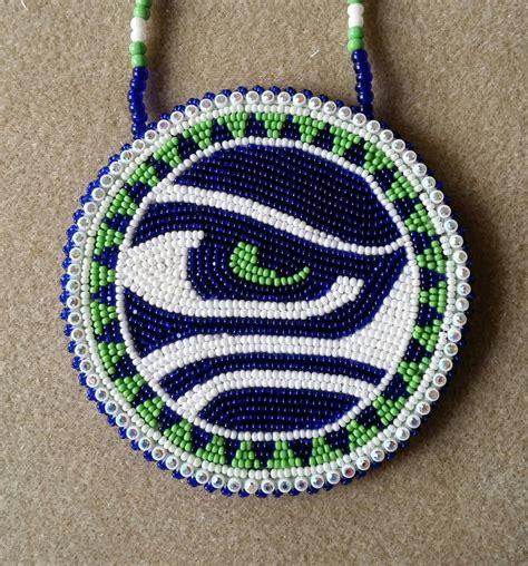 beaded medallion patterns american beaded seattle seahawks eye medallion by