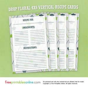 recipe card template 4x6 drop floral 4x6 vertical recipe cards free printables
