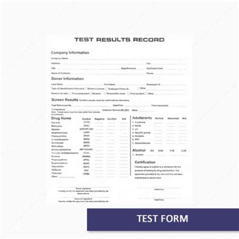test results form template buy onsite test form with carbon copy free shipping