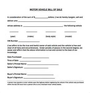 Car Bill Of Sale Template by Vehicle Bill Of Sale Template Cyberuse