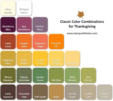 classic color schemes thanksgiving color combinations stamp with brian