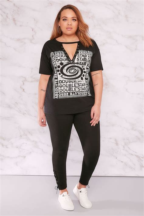 Legging Tosca Limited 1 limited collection black jeggings with eyelet detail plus size 16 to 32